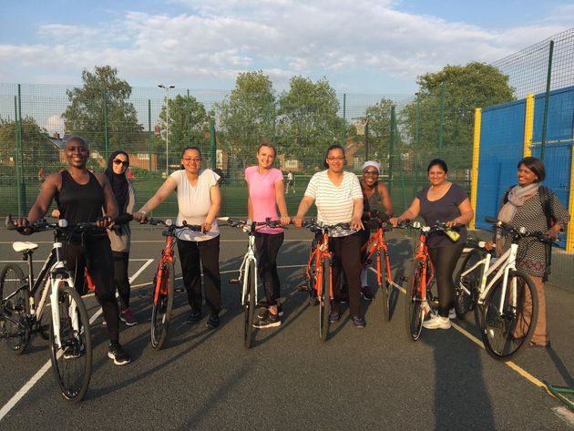 Me (centre, pink top) and the other women in my cycling
