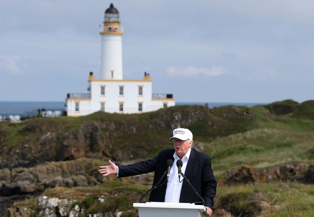 Trump on a previous visit to this Trump Turnberry golf course in
