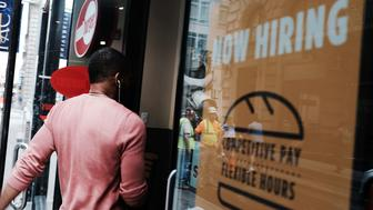 NEW YORK, NY - JUNE 01:  A store advertises that they are hiring in lower Manhattan on June 1, 2018 in New York, New York. According to the Labor Department, which released its official hiring and unemployment figures for May on Friday, the unemployment rate in America  was 3.8 percent, that is down from 3.9 percent in April and the lowest since 2000.  (Photo by Spencer Platt/Getty Images)