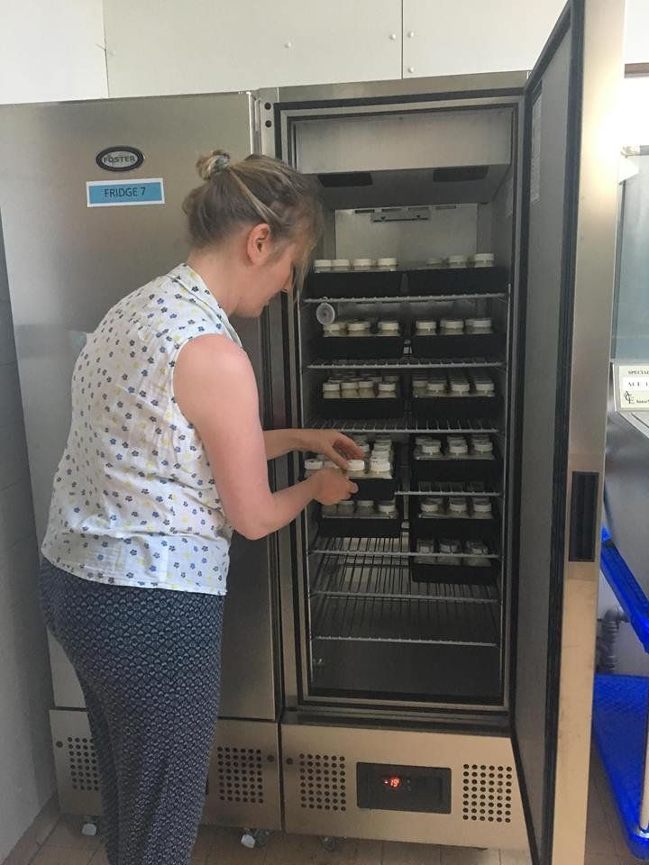 All milk is stored and labelled in fridges in the Milk