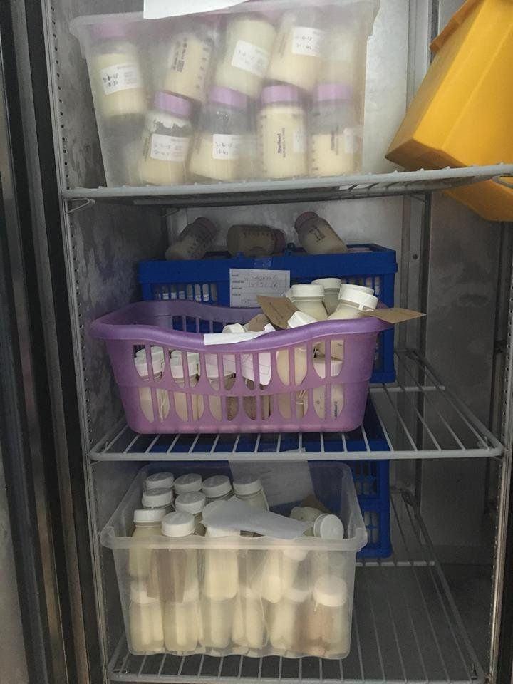 Bottles of milk that have been donated but not yet pasteurised.
