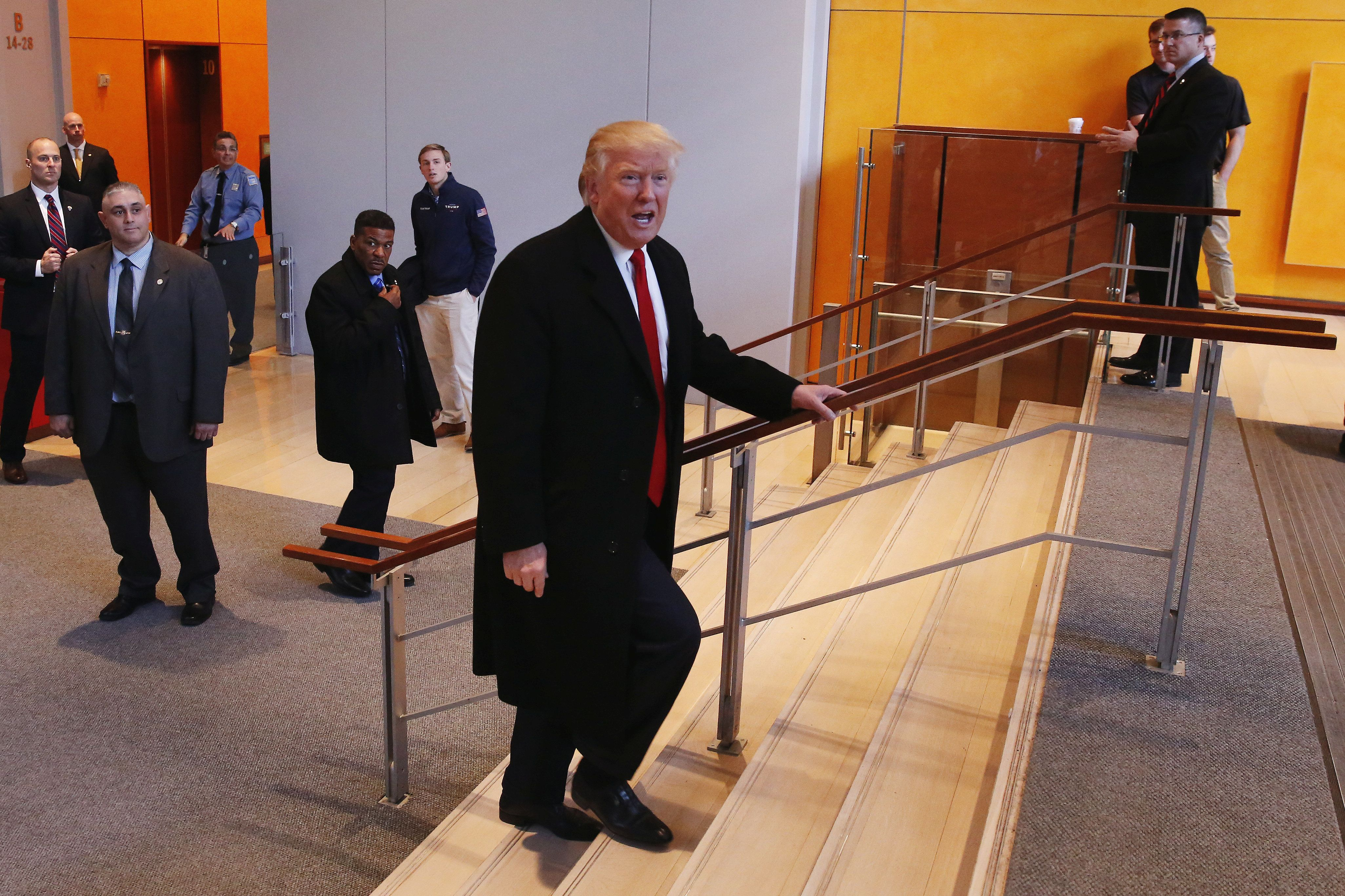 Donald Trump at the offices of The New York Times, Nov. 22, 2016.