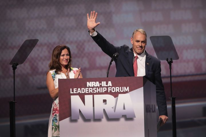 Secretary of the Interior Ryan Zinke, with his wife, Lolita Zinke, addresses an NRA forum in Atlanta, Apr