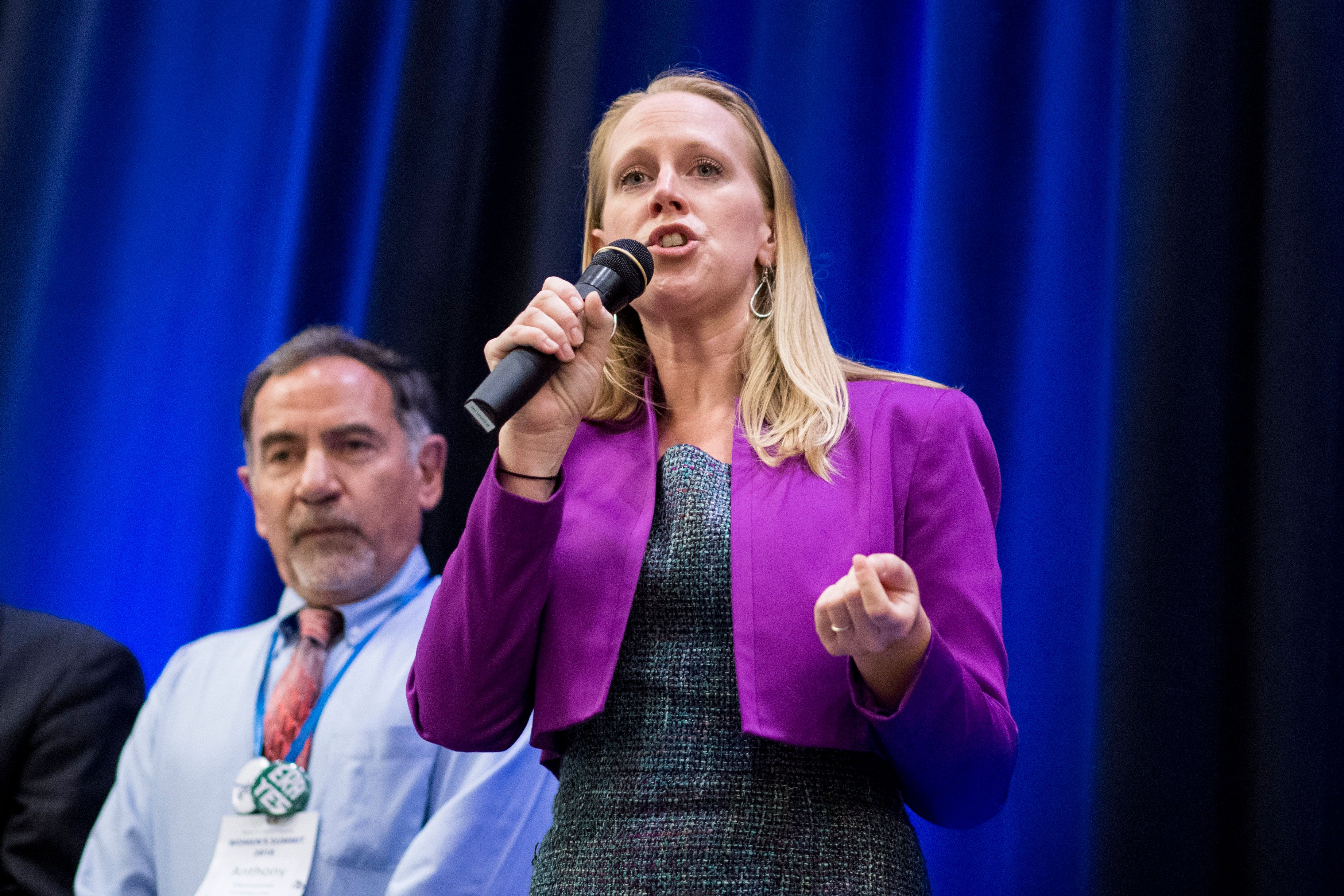 UNITED STATES - JUNE 23: Jennifer Lewis, Democratic candidate for the 6th congressional district of Virginia, speaks during the Women's Summit in Herndon, Va., on Saturday June 23, 2018. (Photo By Bill Clark/CQ Roll Call)