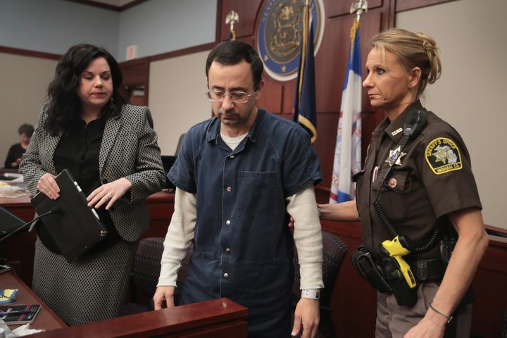 Larry Nassar appears in court during his first sentencing hearing on Jan. 16, 2018, in Lansing, Michigan.