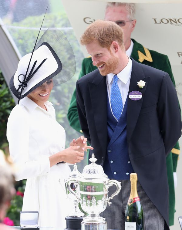 The Duke and Duchess of Sussex at the prize ceremony of Royal Ascot Day 1 at Ascot Racecourse on June 19.