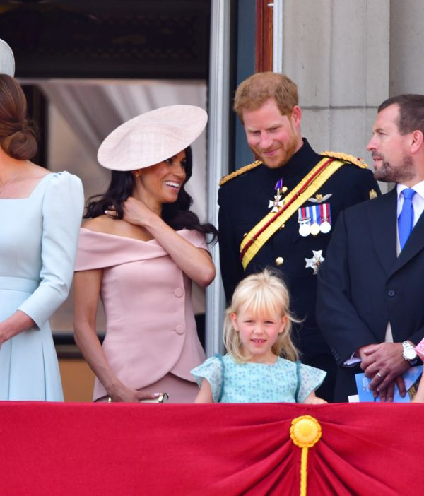 The Duke and Duchess of Sussex stand on the balcony of Buckingham Palace during the Trooping the Colour parade on June 9.