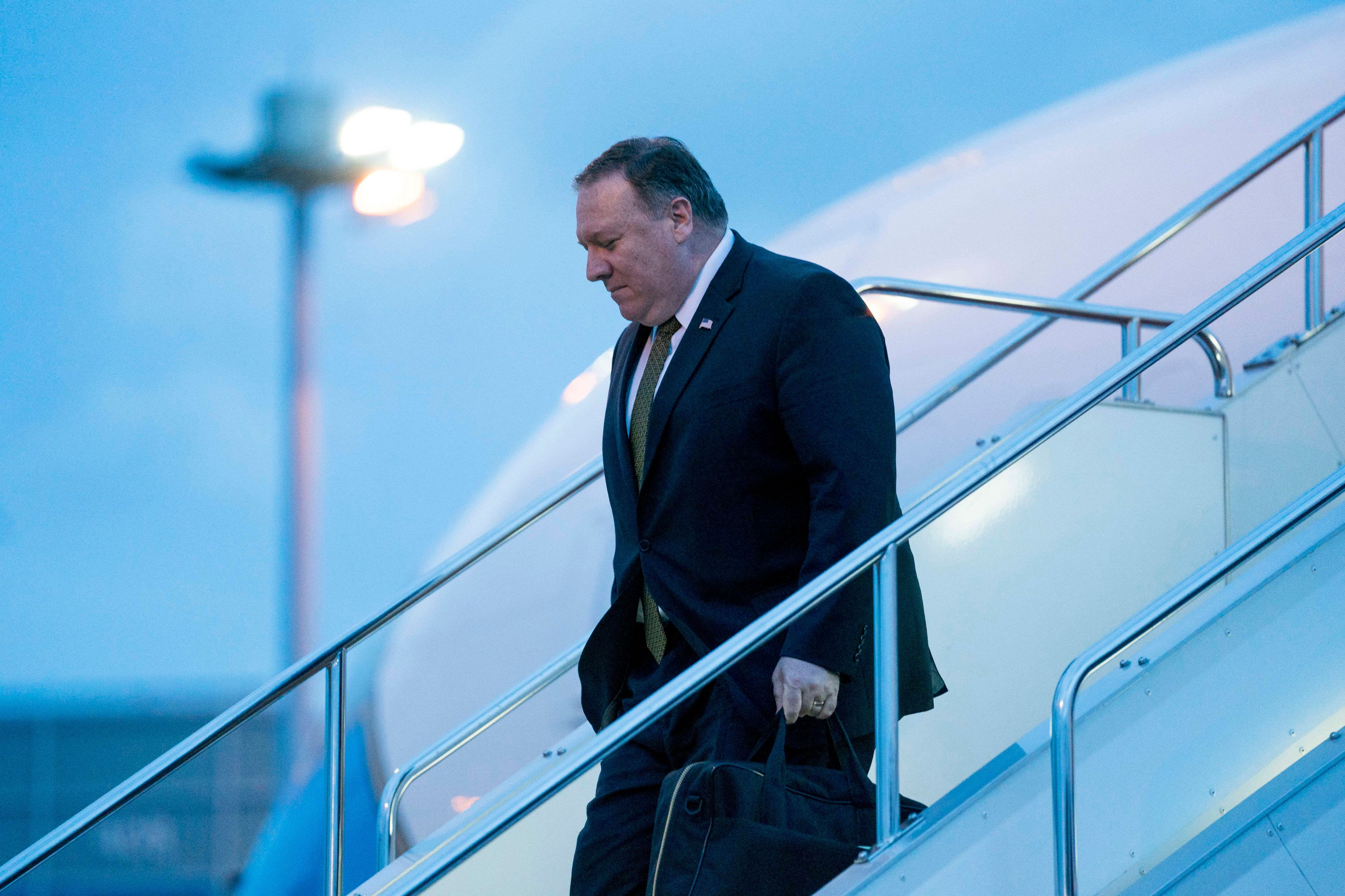 US Secretary of State Mike Pompeo arrives at Haneda Airport in Tokyo on July 7, 2018. - Pompeo insisted that two days of talks with his North Korean counterpart on dismantling Pyongyang's nuclear arsenal had been 'very productive'. (Photo by Andrew Harnik / POOL / AFP)        (Photo credit should read ANDREW HARNIK/AFP/Getty Images)