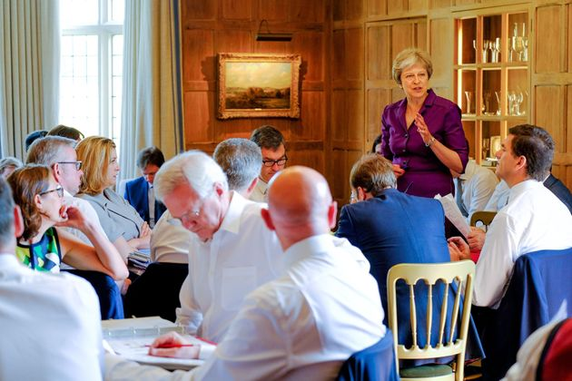 Prime Minister Theresa May speaks during a cabinet meeting at Chequers, the Prime Minister's official country residence near Ellesborough in Buckinghamshire