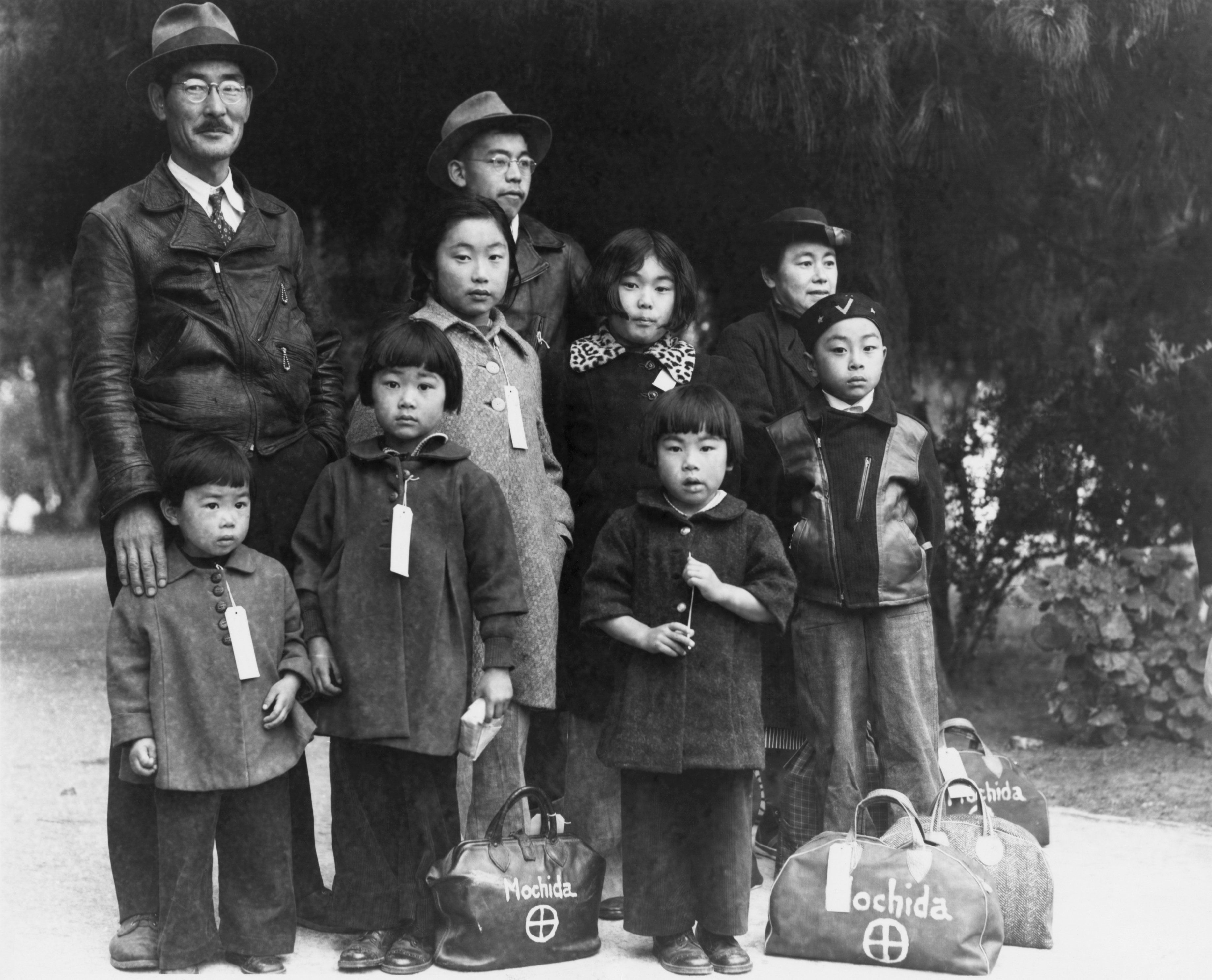 (Original Caption) Internment of Japanese-Americans during WWII: The Mochida family is 'Evacuated.' Photograph by Lange.