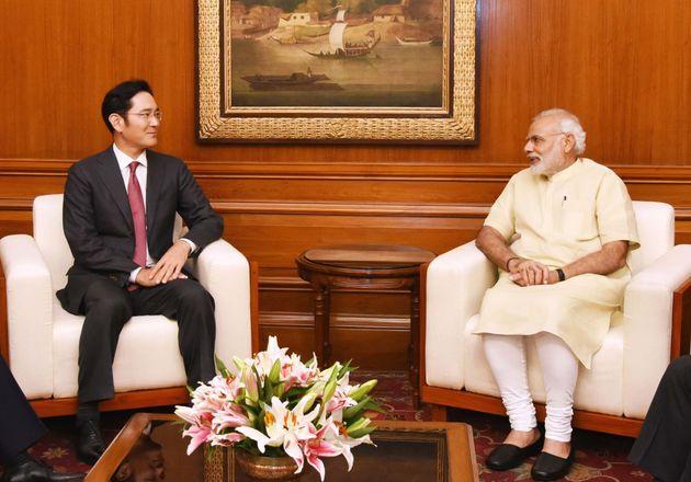 지난 2016년 9월 인도를 방문한 이재용 삼성전자 부회장이 15일(인도 시간) 나렌드라 모디 인도 총리를 예방했다.