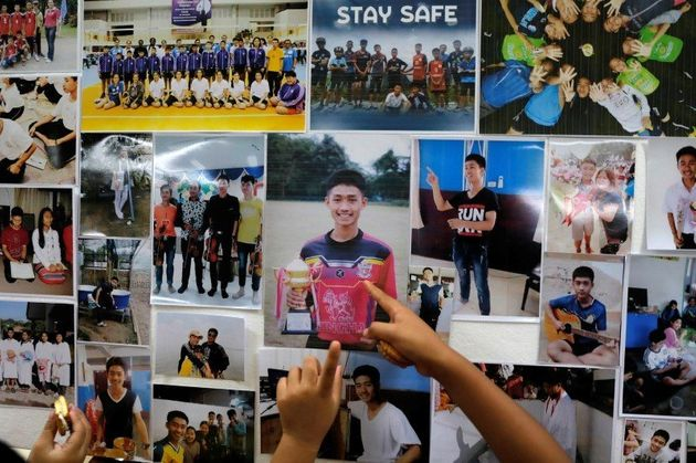 Pictures of the boys, who have been stranded along with their coach, for two
