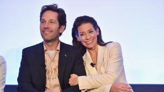 LOS ANGELES, CA - JUNE 24:  Paul Rudd and Evangeline Lilly speak onstage at Marvel Studios' 'Ant-Man And The Wasp' Global Junket Press Conference on June 24, 2018 in Los Angeles, United States.  (Photo by Alberto E. Rodriguez/Getty Images for Disney)