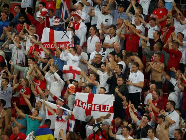 England fans in Spartak Stadium in Moscow during England's victory over Colombia