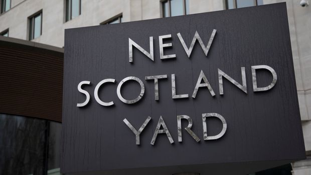 The Metropolitan Police's revolving sign their new headquarters at New Scotland Yard in Westminster, London. Scotland Yard (officially New Scotland Yard, though an Old Scotland Yard has never existed) is a metonym for the headquarters of the Metropolitan Police Service, the territorial police force responsible for policing most of London. The Metropolitan Police Service employs around 31,000 officers plus about 13,000 police staff and 2,600 Police Community Support Officers (PCSOs). The Met covers an area of 620 square miles and a population of 7.2 million. (photo by Mike Kemp/In Pictures via Getty Images)