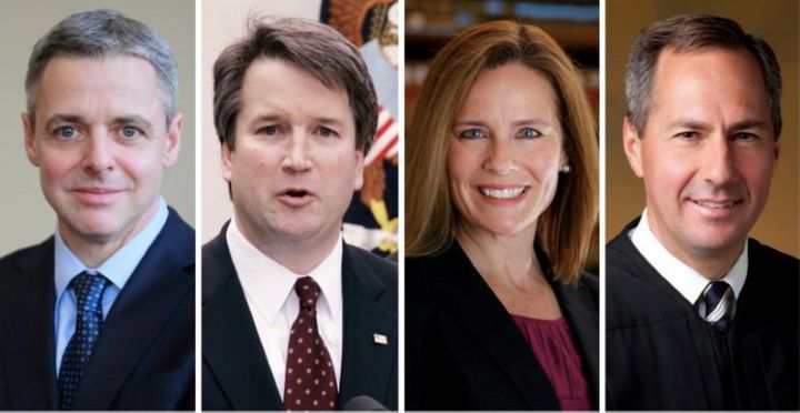 Federal appeals court judges L-R: Raymond Kethledge, Brett Kavanaugh, Amy Coney Barrett, and Thomas Hardiman, being considere