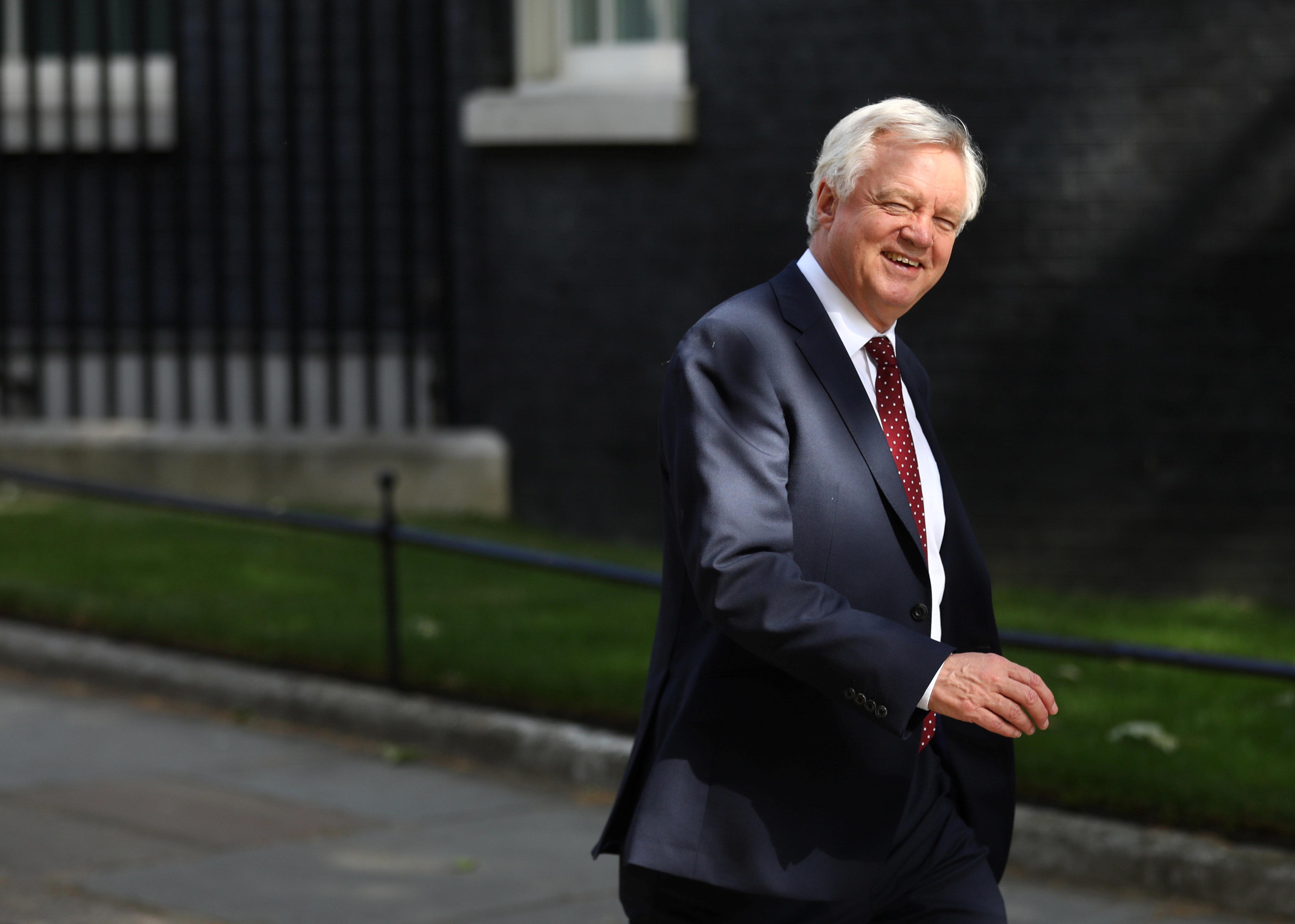 Britain's Secretary of State for Exiting the European Union David Davis walks down Downing Street in London, Britain, July 4, 2018. REUTERS/Simon Dawson
