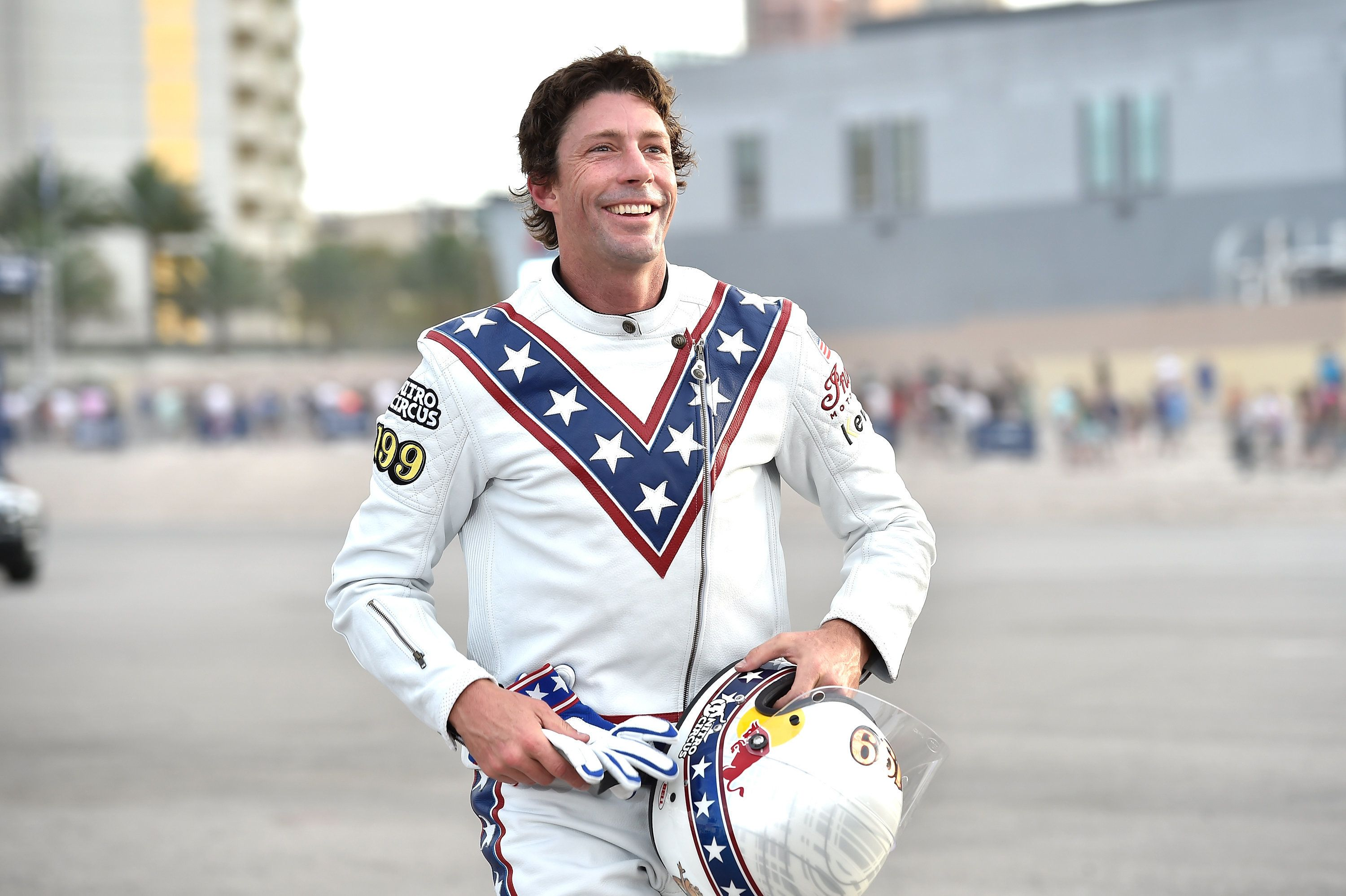 LAS VEGAS, NV - JULY 08:  Travis Pastrana peforms during HISTORY's Live Event 'Evel Live' on July 8, 2018 in Las Vegas, Nevada.  (Photo by David Becker/Getty Images for HISTORY)