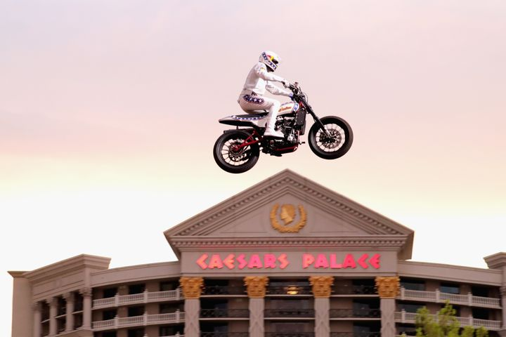 Travis Pastrana jumps the Caesars Palace fountain Sunday in Las Vegas.