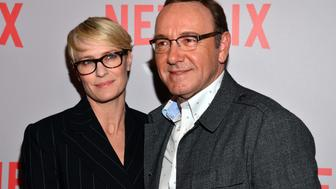 BEVERLY HILLS, CA - APRIL 27:  Actress Robin Wright (L) and actor Kevin Spacey attend Netflix's 'House Of Cards' Q&A screening event at the Samuel Goldwyn Theater on April 27, 2015 in Beverly Hills, California.  (Photo by Amanda Edwards/WireImage)