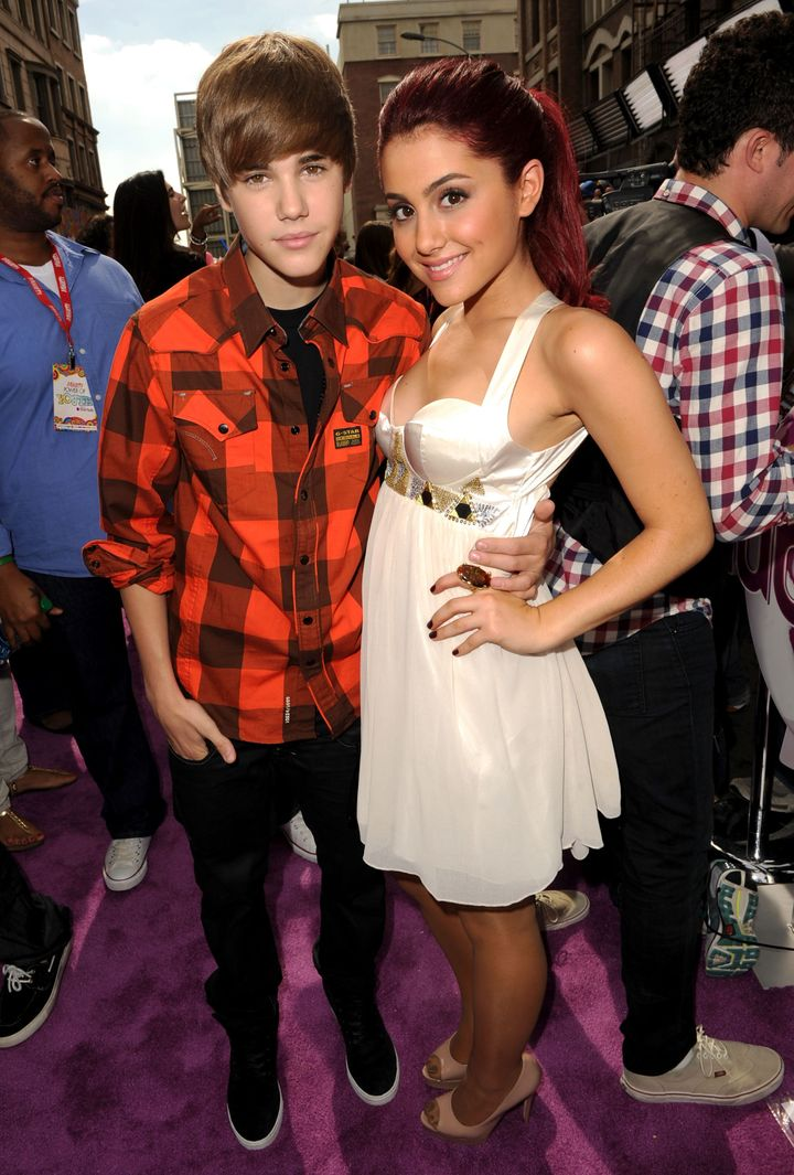 Bieber and Grande pictured together in 2010.