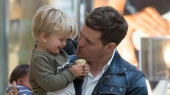 MADRID, SPAIN - APRIL 28:  Michael Buble and son Noah sighting on April 28, 2015 in Madrid, Spain. (Photo by Iconic/GC Images)