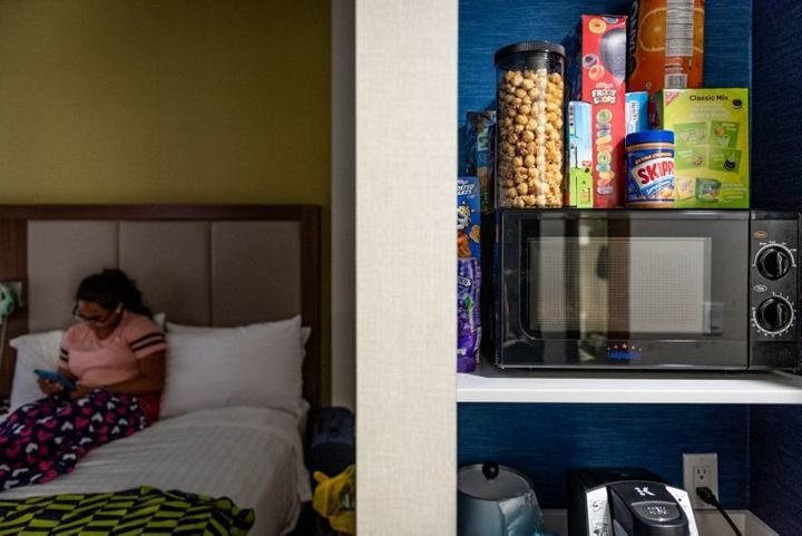 Jennifer Ortiz's daughter, Valerie Rivera, in their Bronx hotel room on July 3.