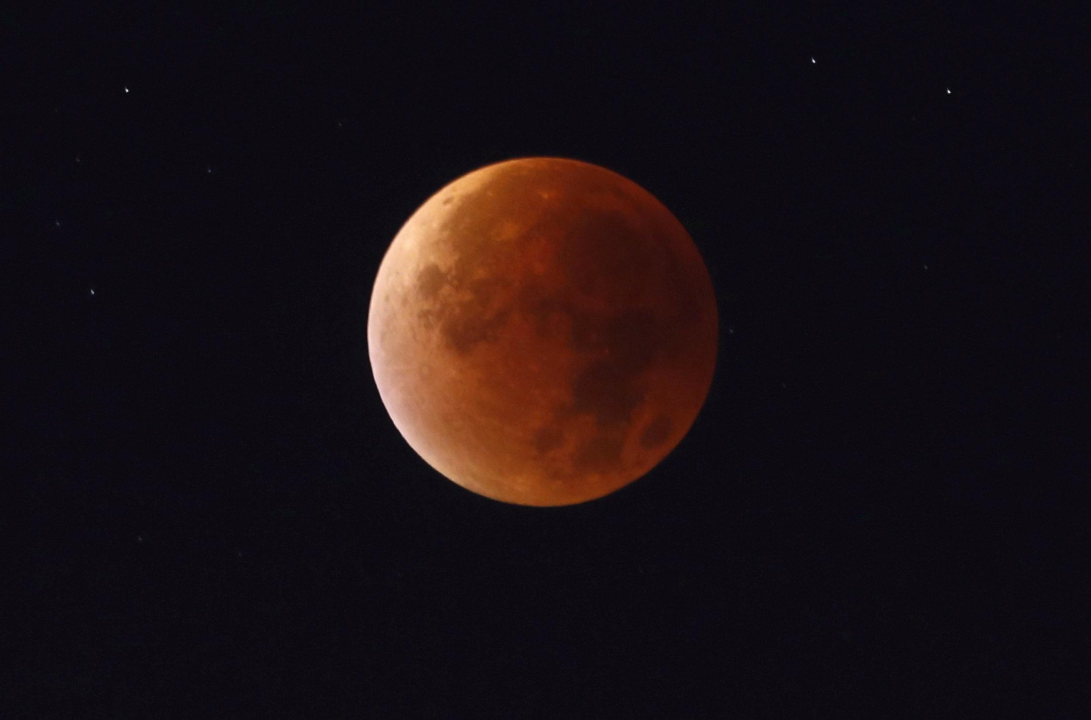 Blood moon brings longest lunar eclipse
