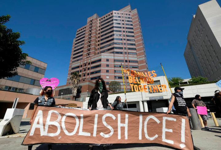 People protest in front of an ICE detention center in downtown Los Angeles on July 2. ICE has been infamous for controve