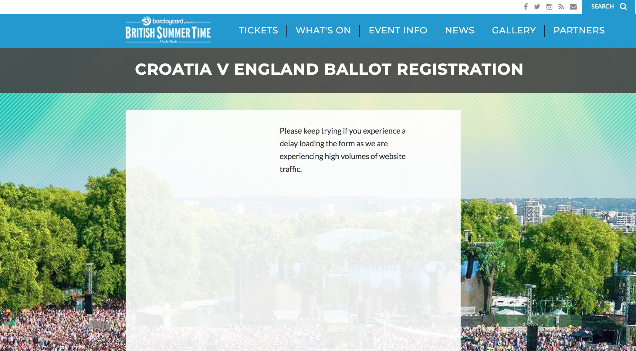 BST Hyde Park Website Crashes Minutes After Ballot Opens For England World Cup Semi-Final