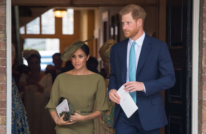 The Duke and Duchess of Sussex depart after attending Prince Louis' christening.