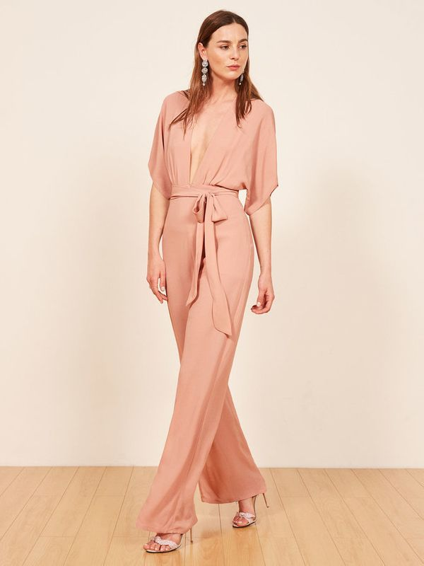 "<strong>Sizes</strong>: 0 to 12<br>Get the <a href=""https://www.thereformation.com/products/lemongrass-jumpsuit?color=Midnigh"