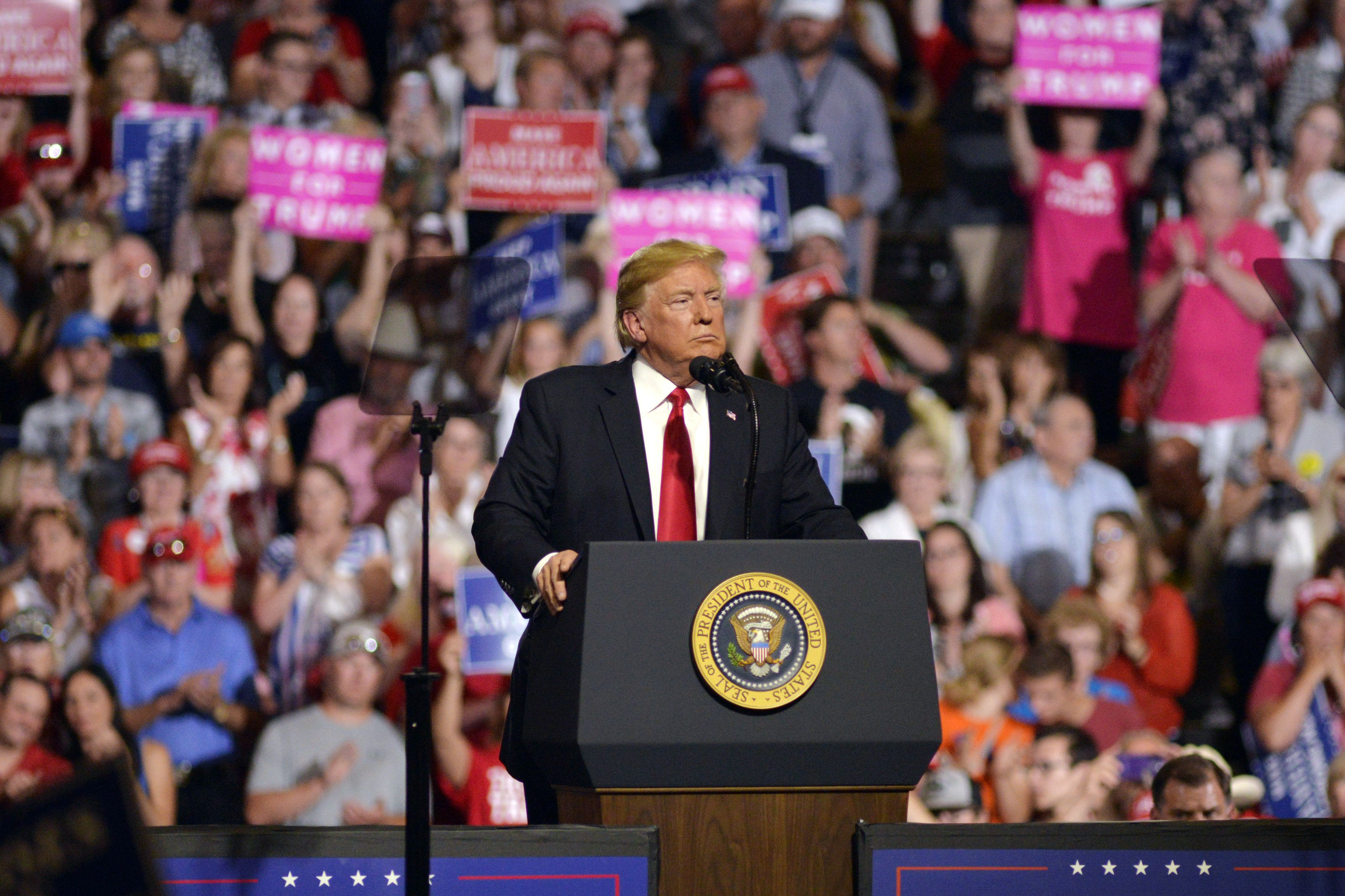 U.S. President Donald Trump pauses as he speaks onstage during a rally in Great Falls, Montana, U.S., on Thursday, July 5, 2018. Trumpis firing the biggest shot yet in the global trade war by imposing tariffs on $34 billion of Chinese imports, delivering on a promise to his political supporters that risks provoking retaliation and harming the world economy. Photographer: Tim Goessman/Bloomberg via Getty Images
