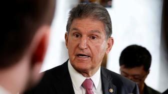 "Senator Joe Manchin (D-WV) speaks to the media as he arrives for a Senate Intelligence Committee hearing evaluating the Intelligence Community Assessment on ""Russian Activities and Intentions in Recent US Elections"" on Capitol Hill in Washington, U.S., May 16, 2018.      REUTERS/Joshua Roberts"