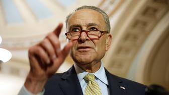 Senate Minority Leader Chuck Schumer (D-NY) speaks after the Democratic weekly policy lunch on Capitol Hill in Washington, U.S., June 19, 2018.      REUTERS/Joshua Roberts
