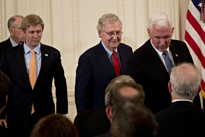 Senate Majority Leader Mitch McConnell and Vice President Mike Pence attend the U.S. Supreme Court nomination announcement ce
