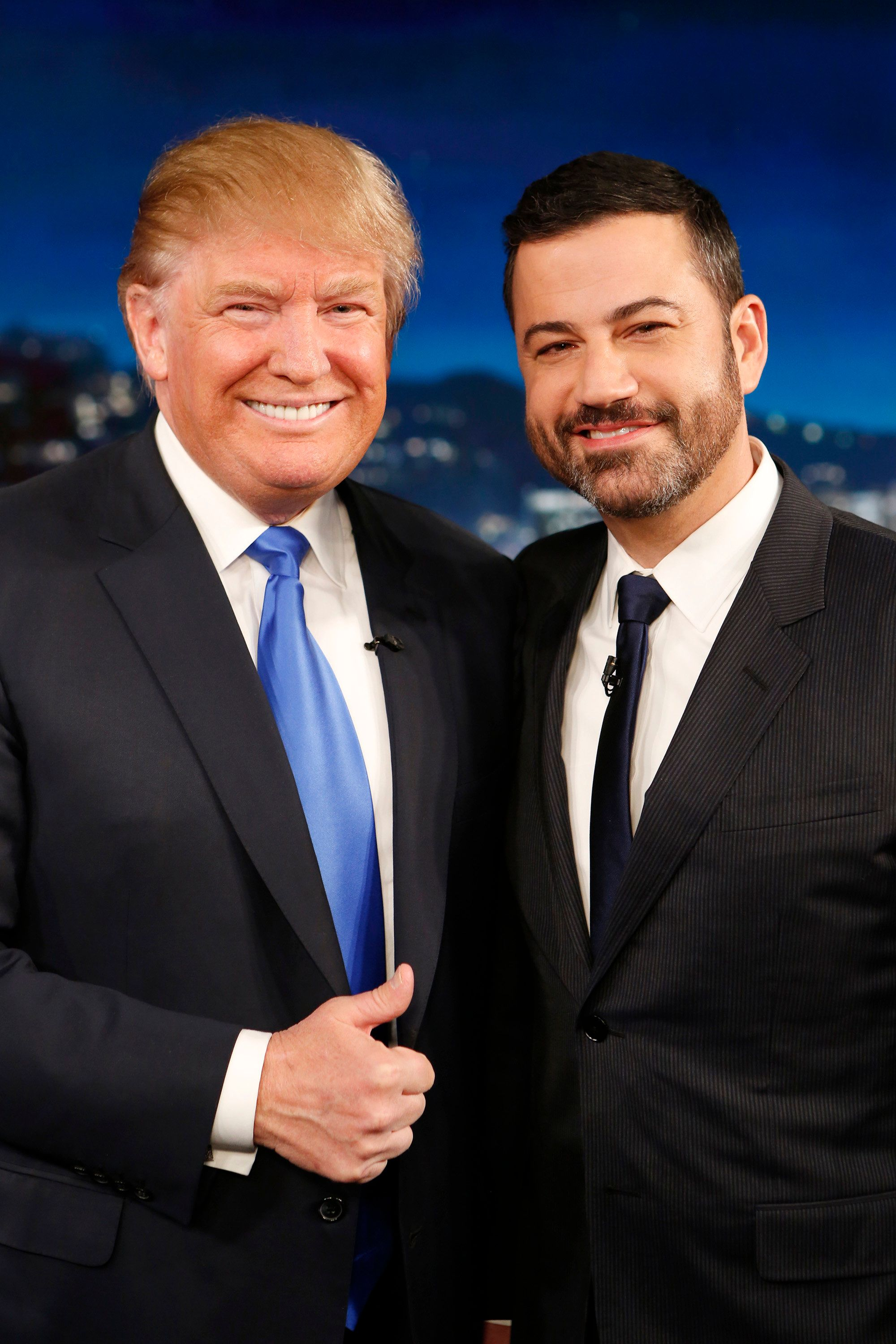 JIMMY KIMMEL LIVE - Emmy Award-nominated 'Jimmy Kimmel Live' airs every weeknight (11:35 p.m. - 12:41 a.m., ET),  packed with hilarious comedy bits and features a diverse lineup of guests including celebrities, athletes, musicians, comedians and humorous human interest subjects. The guests for Wednesday, December 16 included Republican Presidential candidate Donald Trump and musical guest Gary Clark Jr. (Photo by Randy Holmes/ABC via Getty Images) DONALD TRUMP, JIMMY KIMMEL