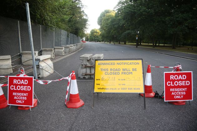 A road is closed as part of security preparations near the U.S. Ambassador's residence Winfield House,...