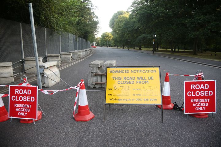 A road is closed as part of security preparations near the U.S. Ambassador's residence Winfield House, in Regent's Park, Lond