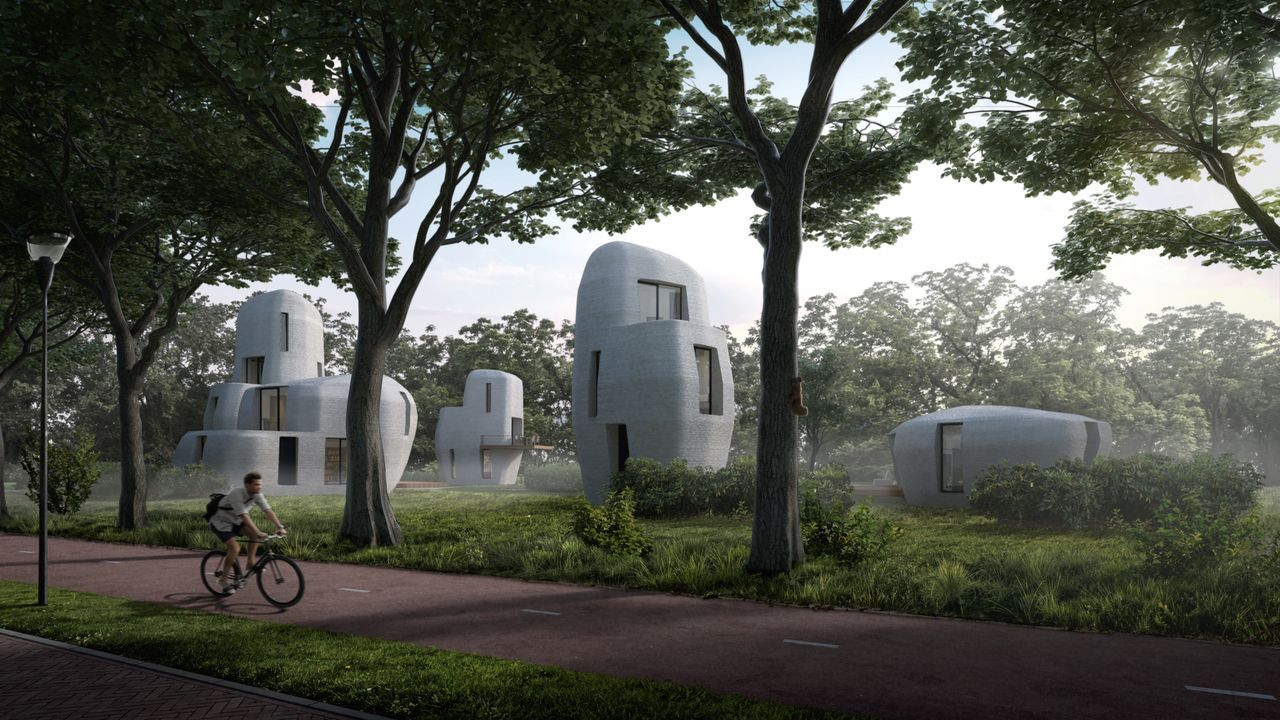 The designs of the 3D-printed concrete homes slated to be built in the Dutch city of Eindhoven over the next five years.