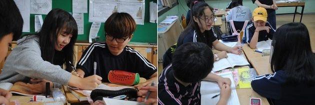 지난 7월2일 덕양중학교 1학년 3반 교실에서 조경애 교사의 '토론하는 수학' 수업이 진행됐다. 학생들이 대안 수학 교과서인 '수학의 발견'을 활용해 일차방정식 문제를 함께 풀고 있다.