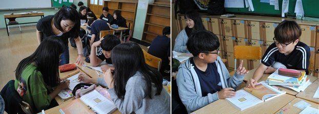 지난 7월2일 덕양중학교 1학년 3반 교실에서 조경애 교사의 '토론하는 수학' 수업이 진행됐다.