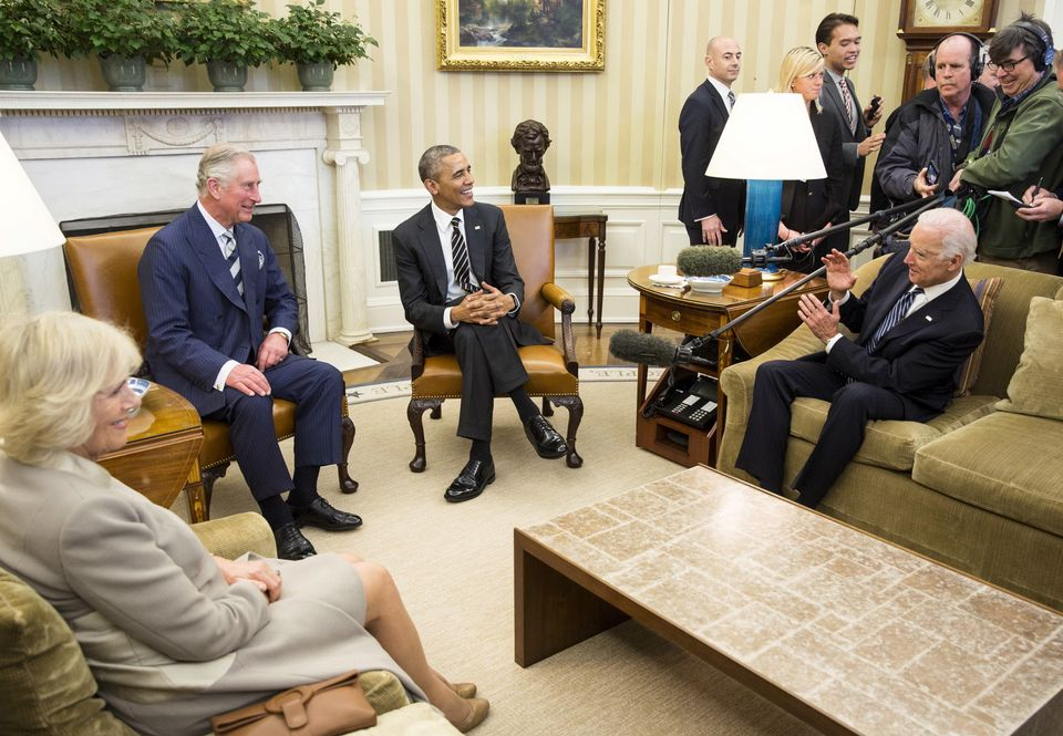 Beck Dorey-Stein, top right, in the Oval Office as President Obama and Vice President Joe Biden meet...