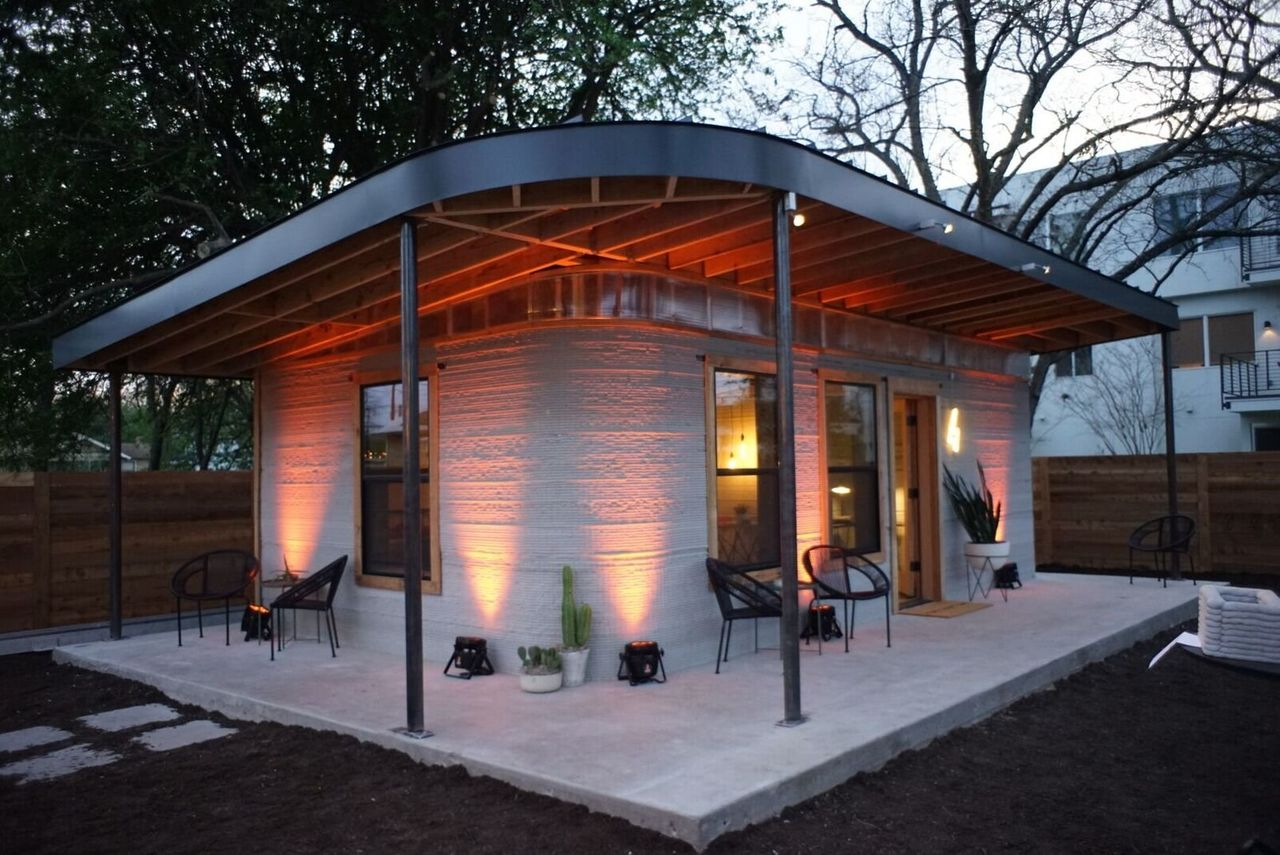 A 3D-printed concrete home from Icon, an American company.