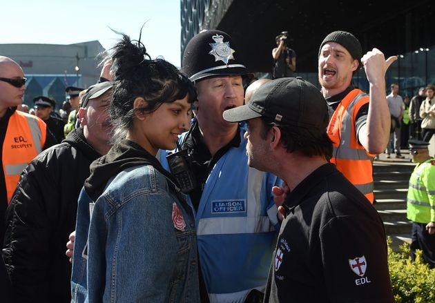 Saffiyah Khan facing down EDL protester Ian Crossland in Birmingham in April