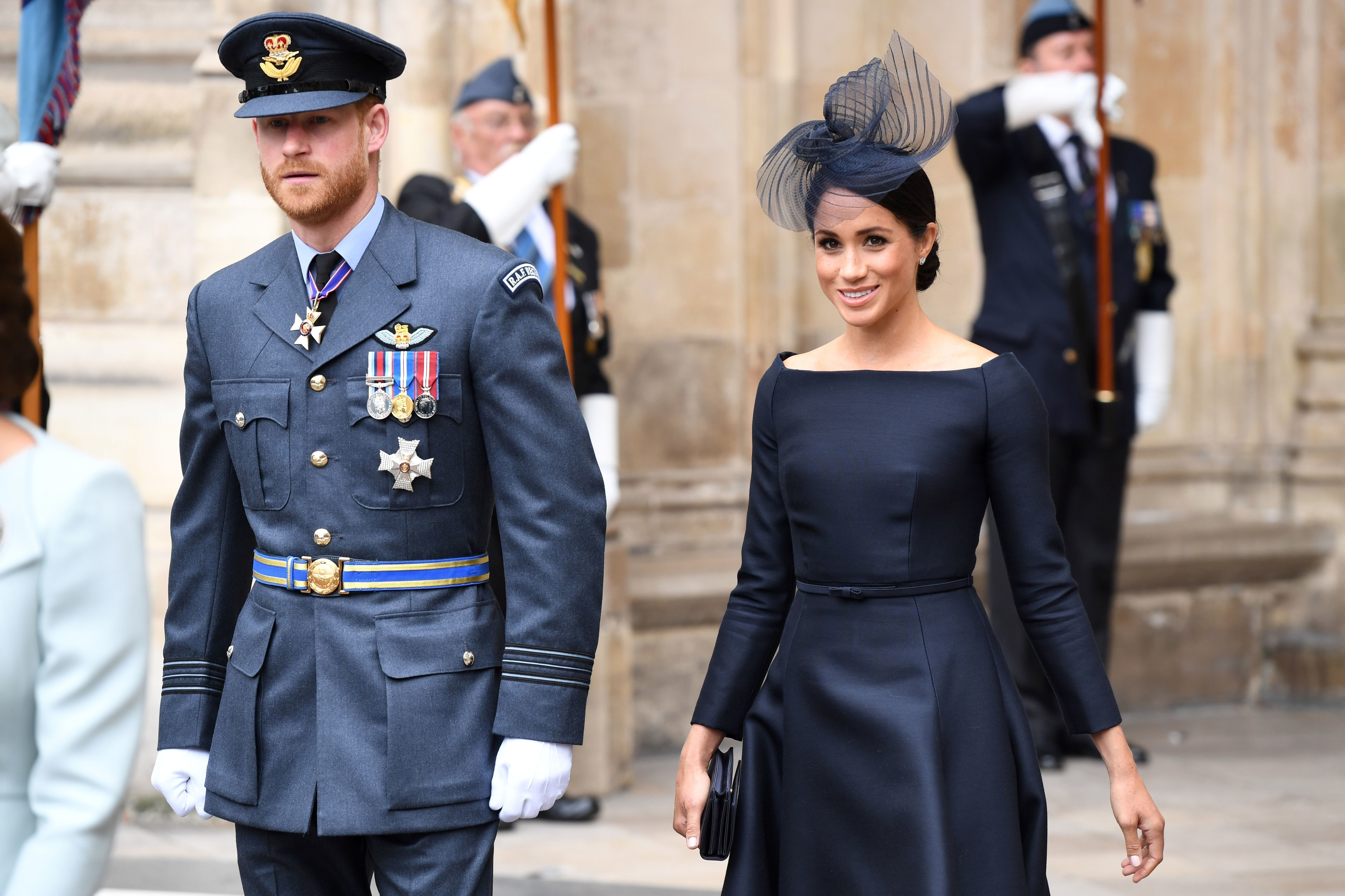 The Duke and Duchess of Sussex exiting the Abbey.