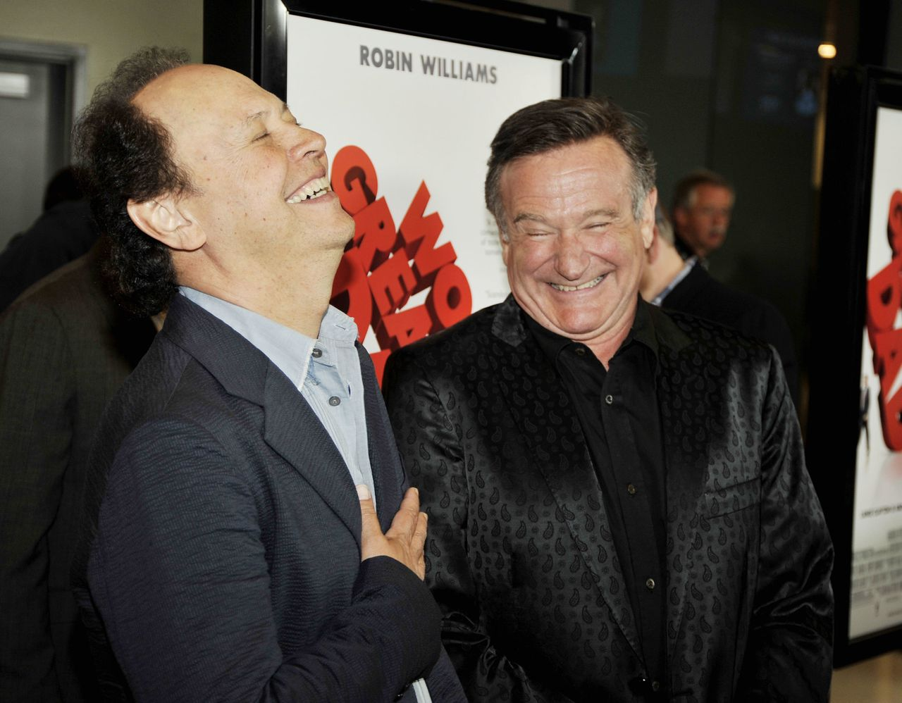 """Actors Billy Crystal (left) and Robin Williams at the premiere of Magnolia Pictures' """"World's Greatest Dad"""" on Aug. 13, 2009, in Los Angeles."""
