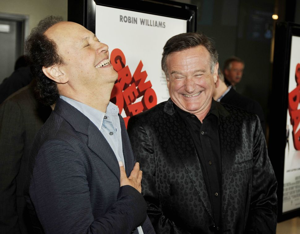 "Actors Billy Crystal (left) and Robin Williams at the premiere of Magnolia Pictures' ""World's Greatest Dad"" on Aug. 13, 2009,"