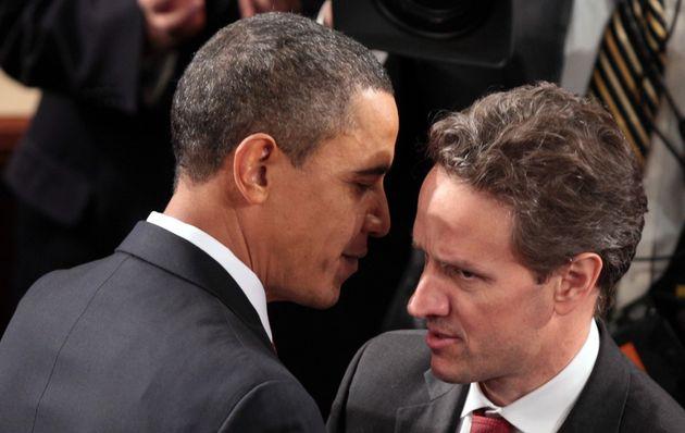 President Barack Obama greets Treasury Secretary Timothy