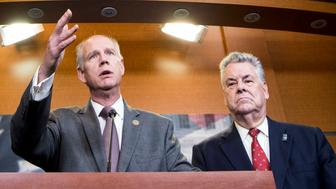 UNITED STATES - NOVEMBER 16: From left, Rep. John Faso, R-N.Y., Rep. Dan Donovan, R-N.Y., Rep. Peter King, R-N.Y., and Rep. Lee Zeldin, R-N.Y., hold a press conference on tax reform on Thursday, Nov. 16, 2017. (Photo By Bill Clark/CQ Roll Call)